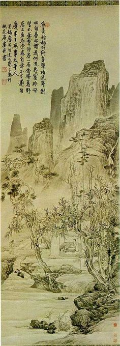 Landscape Painted on the 40th Birthday  Tang Yin(1470-1523)  . 唐寅
