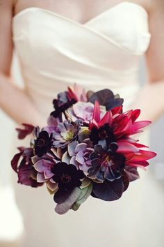 Bride's Bouquet Featuring: Several Varieties Of Succulents, Chocolate Cosmos, Burgundy Smokebush, Additional Coordinating Florals