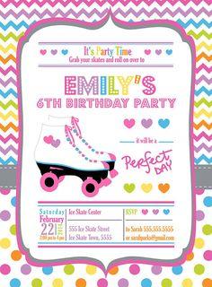 Patín invitación/Roller Skate Chevron por bebaboo en Etsy
