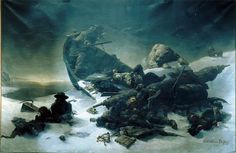 Illustration for The Terror by Dan Simmons. Fictional account of what happened to The Terror and The Erebus.