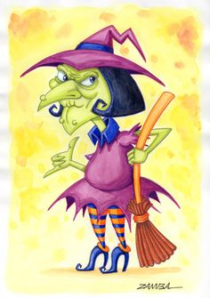 Halloween - Bruxa, técnica com aquarela líquida e lápis de cor contorno - ano de 2008 - Projeto gráfico para livro.