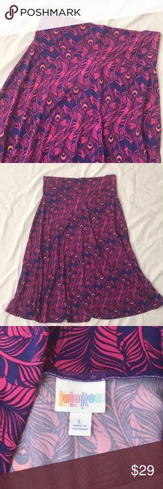 Peacock feathers azure!!! Flirty azure LULAROE😍 Peacock feathers!!!  Gorgeous colors! LuLaRoe Skirts Midi