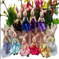 20pcs Plush Stuffed Animal 8cm cartoon dress joint rabbit without strap Plush toy Cartoon bouquet flower wrapping material