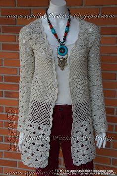 Love it - Crochet Flower Coat Crochet Mat, Knit Cardigan Pattern, Crochet Cardigan Pattern, Crochet Jacket, Crochet Blouse, Crochet Shawl, Crochet Patterns, Crochet Flower, Crochet Fashion