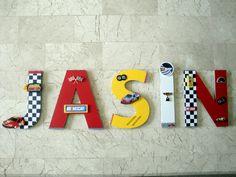 NEW Nascar Race Car Wall Letters, Custom Wall Letters, Race Car Boys Room Decor, Race Car Wall Art, Car Boys Nursery, Transportation Decor by BearySpecialScrappin on Etsy