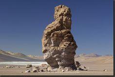 "Moai de Tara, One of the ""Moais of Tara"", giant rock pillars in the Reserva los Flamencos, San Pedro de Atacama."