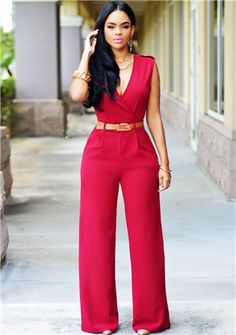 New Loose Sexy European American brands Jumpsuit Ladies Slim V neck Pocket Sleeveless Women full Length jumpsuit belts