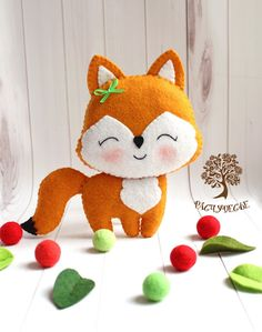 "We sew a cute children's toy from felt ""Fox"", photo number 1 Sewing Patterns For Kids, Sewing Projects For Kids, Felt Patterns, Sewing For Kids, Diy For Kids, Free Sewing, Felt Fox, Felt Baby, Diy Arts And Crafts"