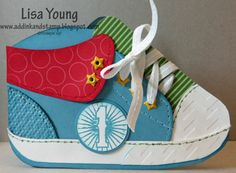 handmade card ... shaped like a baby athletic shoe ... luv all the details, including laces ...