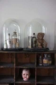 Glass domes: The taste of Petrol and Porcelain | Interior design, Vintage Sets and Unique Pieces www.petrolandporcelain.com