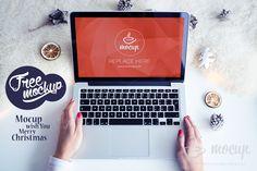 Free Mockup MacBook White Christmas (17 MB)   mockupdeals.com   #free #photosho #mockup