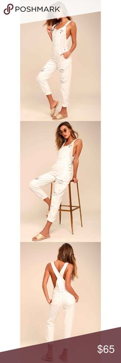 🆕White Distressed Overalls You can count on the Always Be There White Distressed Overalls for a cute, put-together look! These denim overalls have adjustable straps, a patch pocket bib, and tapered pant legs with button-up sides and distressing throughout. Shiny silver hardware, belt loops, and a five-pocket cut. Original manufacturer label still attached (by Honey Punch) Unlined. 100% Cotton. Hand Wash Cold. Imported. Lulu's Pants Jumpsuits & Rompers