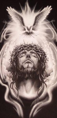 God and Jesus Christ Croix Christ, Body Art Tattoos, Sleeve Tattoos, Christus Tattoo, Gott Tattoos, Jesus Drawings, Heaven Tattoos, Jesus Tattoo, Pictures Of Jesus Christ