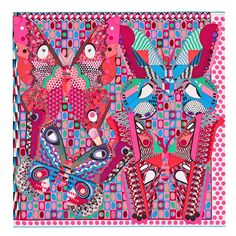 Hermes Les Ailes de la Soie Silk Scarf Carre 90cm Pink Blue | From a collection of rare vintage scarves at https://www.1stdibs.com/fashion/accessories/scarves/