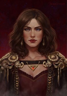 female human noble / sorcerer / adventurer with elaborate cloak and necklace NPC / player character inspiration for fantasy gaming / DnD / Pathfinder Fantasy Portraits, Character Portraits, Character Art, Female Character Concept, Dnd Characters, Fantasy Characters, Female Characters, Deviantart, Pin Up