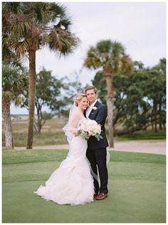 Bride and groom at the Kiawah Island Club on Kiawah Isand in SC. Bouquet by Bella Flora, image by Landon Jacob.