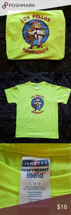 Breaking Bad Los Pollos Hermanos T-Shirt This shirt is in good condition; no rips, tears, or stains   Size: Large  Condition: pre owned Vintage t-shirt has signs of wash & wear but lots more wear to go. Jerzees Shirts Tees - Short Sleeve