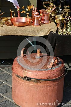 Photo about Copper boiler for distilled brandy and another household items copper. Image of household, romanian, retro - 78161146 Boiler, Household Items, Kettle, Stock Photos, Abstract, Decor, Summary, Tea Pot, Decoration