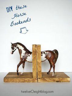 DIY Horse Bookends (Good use for a repaired Breyer) twelveOeightblog.com