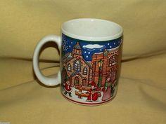 #LEFTONMUG #COLONIALVILLAGE 1992 00889 COLLECTION MUG CUP #CHRISTMAS WIG SHOP