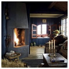 """AMAZING, cozy sanctuary! We'd love to be snuggled up here right now  #sanctuary #interiors #interiordesign #fireplace #cozy"""