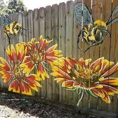 Garden Fence Art, Garden Mural, Diy Fence, Backyard Fences, Raised Garden Beds, Fence Ideas, Garden Ideas, Backyard Playground, Wind Spinners