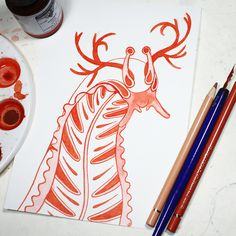 #inktober day 14 this is a Boarse. It is a Mixture between a slug and a colourful caterpillar with an impressive headdress #originalartwork #inktober2016 #ink #redink #inkpen #drawing #drawn #handdrawn #nib #inked #Illustration #fantasy #illustrator #artist #artwork #character #challenge #characterdesign #design #artistofinstagram #instaart #originalart #draweveryday #drawingchallenge #instaartist #creature #artwork #sketch #sketching #slug #snail #caterpillar #animal