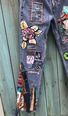 Your place to buy and sell all things handmade Levis, Jeans Refashion, Diy Jeans, Painted Jeans, Denim Crafts, Patchwork Jeans, Embellished Jeans, Hippie Boho, Boho Gypsy