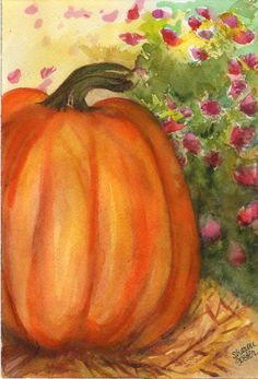 Original  Pumpkin on hay bale with mums original watercolor, home decor, wall art. $12.00, via Etsy.