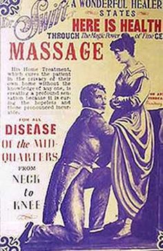 "Victorian ad showing doctor treating woman's ""hysteria"" by 'pelvic massage'."