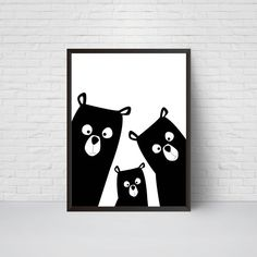 Bear Family Nursery Print Bear Art Poster Black and by EVEprints