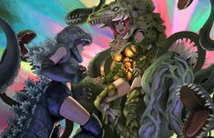 godzilla vs biollante by urasato on DeviantArt Godzilla Comics, Godzilla Vs, Female Monster, Monster Girl, Aliens, Sports Brand Logos, Five Nights At Anime, Shadow Dragon, Anime Military