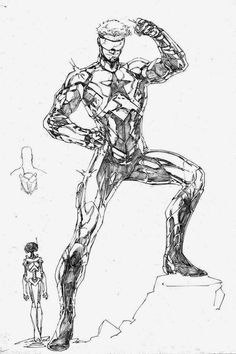 Unused Booster Gold design by Brett Booth Comic Book Artists, Comic Book Characters, Comic Character, Comic Books Art, Comic Art, Fantasy Heroes, Fantasy Comics, Black And White Comics, Black And White Drawing