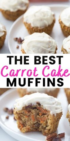 "The BEST Healthy Carrot Cake Muffins made from a mixture of almond and oat flour!  Topped with a lightened up ""Cream Cheese"" frosting and made with your favorite mix-ins. If you are a carrot cake fan, you will LOVE these muffins! Recipe has 21 Day Fix containers and WW points. Perfect for any special occasion like Easter Brunch, a birthday, or just when you feel like having yummy carrot cake! Carrot Spice Cake, Carrot Cake Muffins, Healthy Carrot Cakes, Best Carrot Cake, Healthy Breads, Healthy Baking, Eating Healthy, Healthy Food, Köstliche Desserts"
