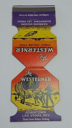 THE WESTERNER LAS VEGAS NEVADA JEWELITE Matchbook Matchcover