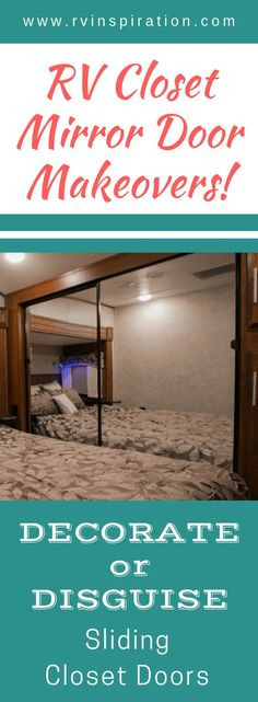 12 Mirror Closet Sliding Door Makeover Ideas Looking To Get Rid Of The Mirrors In Your Motorhome Or Travel Trailer Bedroom Take A Look At How These Rv Owners Gave Their Closets A Makeover Glass Closet Doors, Mirror Closet Doors, Sliding Closet Doors, Mirror Door, Closet Door Makeover, Mirror Makeover, Camper Makeover, Closet Makeovers, Closet Redo