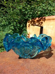 Murano Seguso Venetian 1950's1960s blue glass by fcollectables