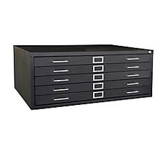 "Sandusky® 5-Drawer Flat File, 16 1/8""H x 40 3/4""W x 28 3/8""D, Black"