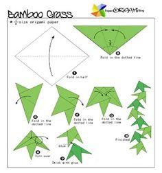 Star Festivel Origami: Bamboo grass Ornament ~ Paper Origami Folding Diagram