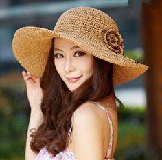 Handmade straw floppy sun hat for women flower decoration packable beach hats