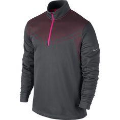 Nike Golf Hypervis 1/2 Zip Men's Cold Cover-Up Sweater Dark Grey/Hyper Pink