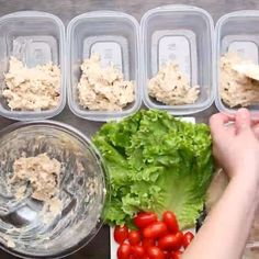 HEALTHY MEAL-PREP CHICKEN SALAD POCKETS Serves 4 INGREDIENTS 12 ounces shredded chicken ⅔ cup fat-free or low-fat plain Greek yogurt ½ cup celery, finely chopped 1½ tablespoons sweet relish 1 tablespoon Dijon mustard 1 scallion, thinly sliced 1 teaspoon garlic powder ½ teaspoon paprika Salt, to taste Pepper, to taste 4 leaves lettuce 20 cherry tomatoes 4 pita breads PREPARATION 1. In a bowl, mix all ingredients except for the pita, tomatoes, and lettuce. 2. Portion the chicken salad into ...