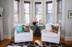 bay window with matching chairs