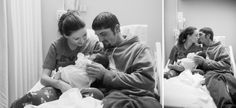 newborn session in hospital family on bed