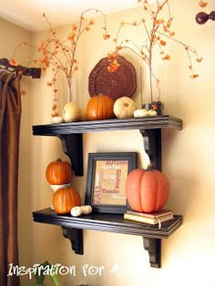 Inspiration For Moms: I Finished It Friday: Fall Decorated Shelves