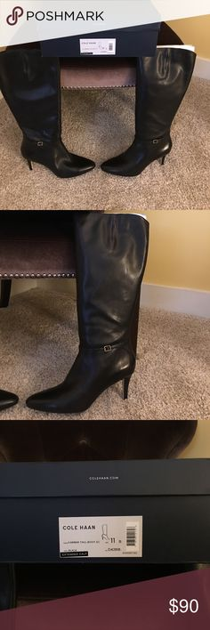 Killa black boot for one who needs more calf room! Knee high classic black boot.  Size 11 Cole Haan beautiful Leather boots with Extended  calf room. NEVER worn and still in original box.  They are that boot that everyone needs but you can never find when you are looking- READ Sept!  Classic, right heel height- 3 inch, soft leather. I begged for these and never got to them. :(.   Go for it before it's too late and your ripping through your closet in dismay!!!! Cole Haan Shoes Heeled Boots