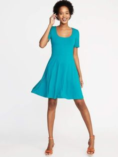 Old Navy Fit & Flare Jersey Dress for Women -just bought this, love it! Dresser, Nice Dresses, Dresses For Work, Ivory Dresses, Clothes For Sale, Clothes For Women, Flare Skirt, Swing Dress, Plus Size Women