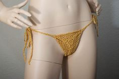 Gold yellow cotton glitter sparkle g-string crochet lace wedding lingerie bikini sexy thong by Racoona on Etsy