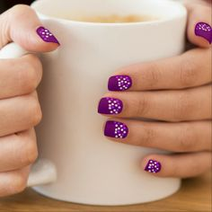 Purple Nails With White And Pink Dots - Fingernail Decal