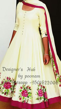 Hand Painted Dress, Hand Painted Fabric, Painted Clothes, Saree Painting, Fabric Painting, Paint Fabric, Hand Embroidery Dress, Embroidery Suits Design, Indian Fashion Dresses